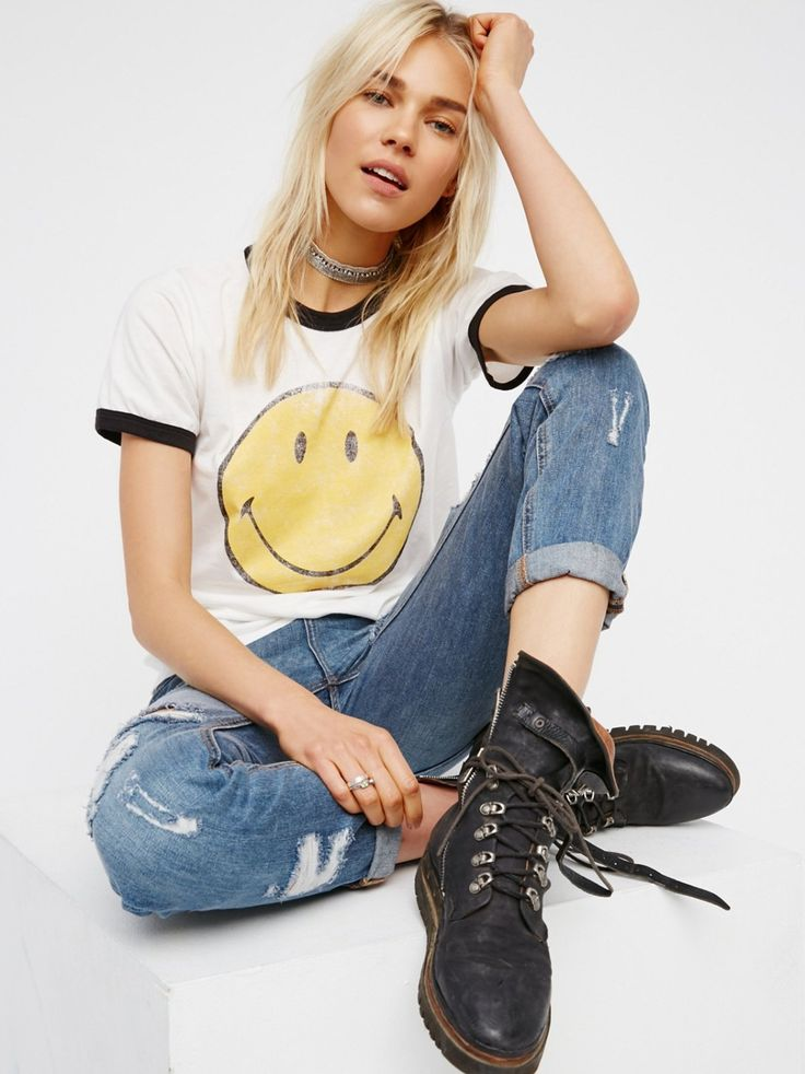 Smiley Ringer Tee | Vintage-inspired ringer tee featuring a cute frony smiley face graphic. So soft and comfy with a perfectly worn look.