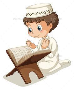 Muslim Praying (JPG Image, Vector EPS, CS, books, boy, cartoon, child, childhood, costume, culture, education, happy, hat, hobby, islam, islamic, isolated, kid, knowledge, muslim, on white, outfit, person, picture, reading, sitting, smiling, tradition, tranditional, white, white background, young)
