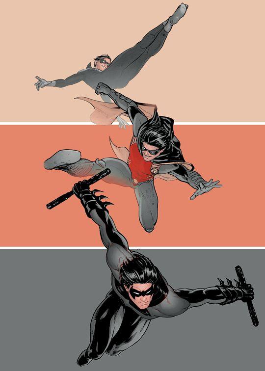 Son. Acrobat. The Flying Grayson. Dick. Sidekick. Sensation. The Boy Wonder. Robin. Hero. Protector. The Dark Heir. Nightwing.