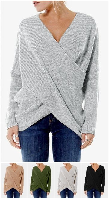 Beige Cross Front V-neck Irregular Hem Jumper US$11.99