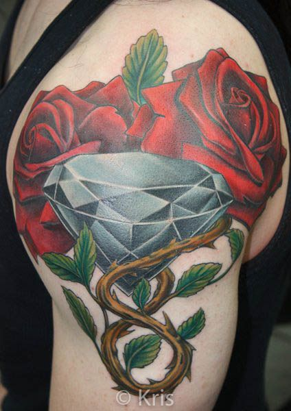 Roses and diamond tattoo by professional tattooist kris for Inkslingrz professional tattoos and body piercing