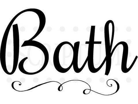 Elegant Bath Sign For Door Or Wall Bathroom Vinyl Bath
