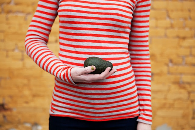 Take a monthly pregnancy photo with the coordinating fruit or veggie that is the size of baby!