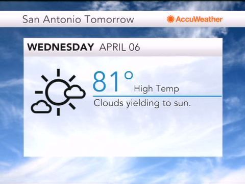 Apr 05, 2016; 6:53 PM ET Five-day Weather Forecast for San Antonio, TX