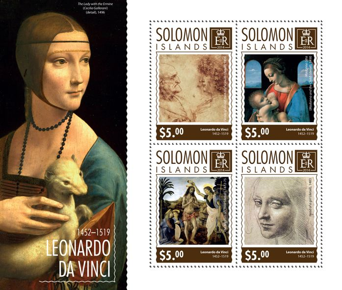 Post stamp Solomon Islands SLM 14706 aLeonardo da Vinci (1452-1519. Heads of an old man and a youth, detail, 1495, {…}, Head of a girl, detail, 1483)