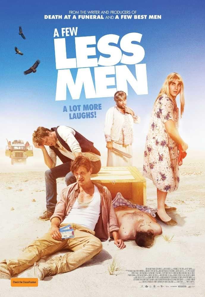A Few Less Men es una película de comedia de 2017 dirigida por Mark Lamprell. La historia se trata de Touring se prepara para tres hombres en los malos trajes de bodas de boda resultan mal. Obtener una película cine de calidad completo descarga A Few Less Men en español.
