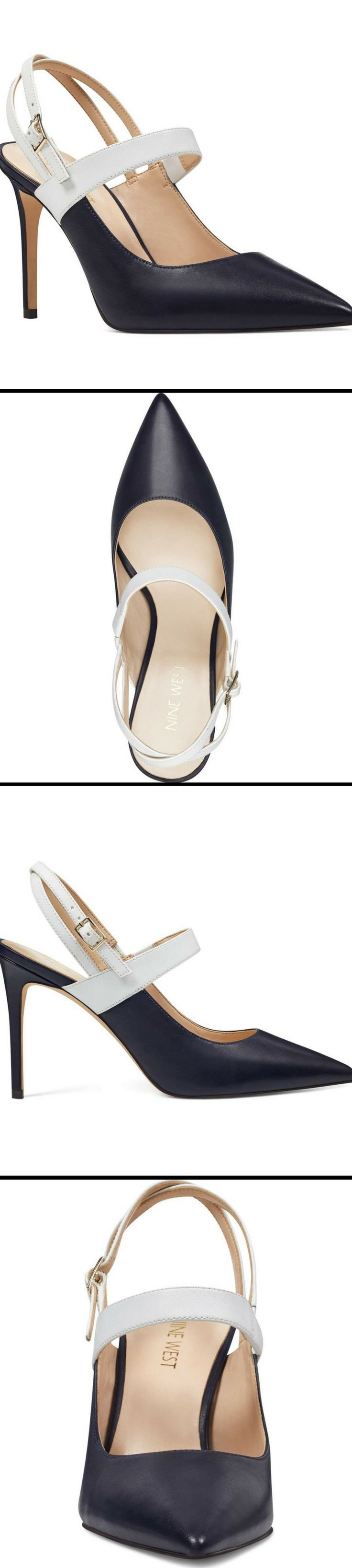 A slim heel adds leg-lengthening height to a striking pointy-toe pump in a contemporary slingback silhouette. Tabbae Slingback Pump from Nine West. #SlingbackPumps #NineWest #affiliate #ShoeLove #GiftsForHer