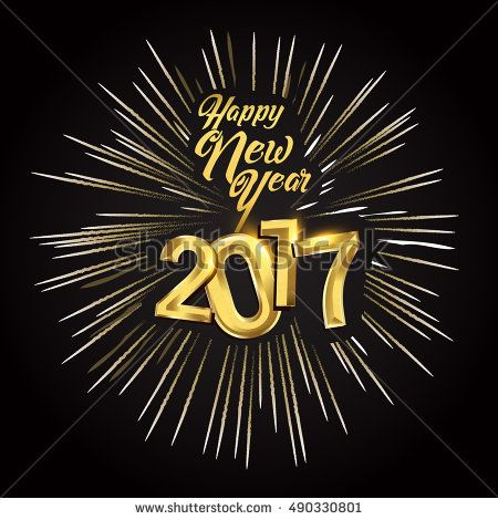 Happy New Year 2017 with fireworks isolated on black background, text design gold colored, vector elements for calendar and greeting card