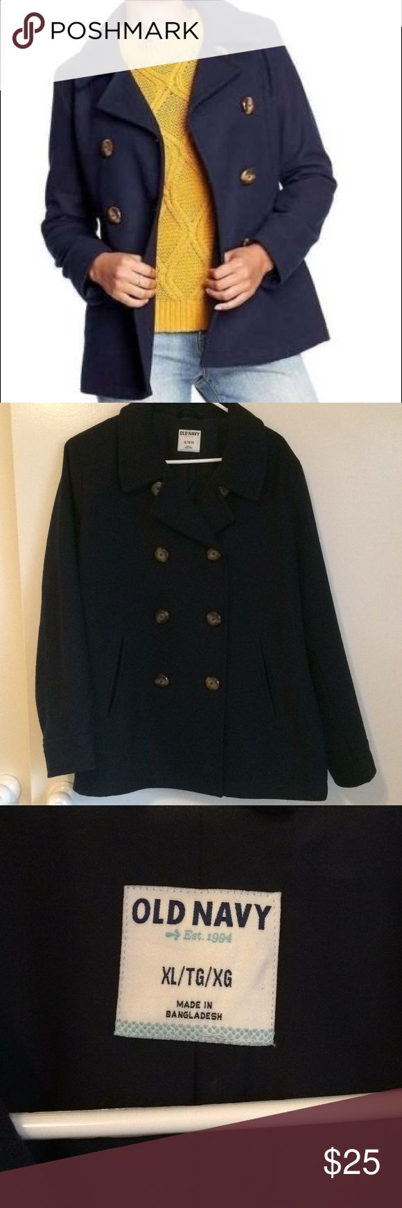 Old Navy Pea Coat I only ended wearing this maybe once. It just never got cold enough! So it's like new and it is a dark blue color. True to XL size and it very comfortable and stylish! An essential and classic piece for any winter wardrobe! Old Navy Jackets & Coats Pea Coats