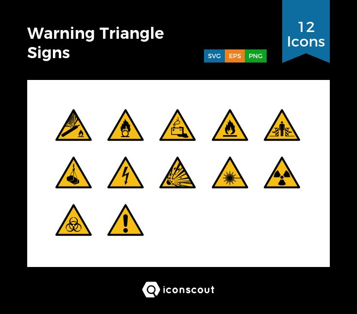 Warning Triangle Signs  Icon Pack - 12 Filled Outline Icons