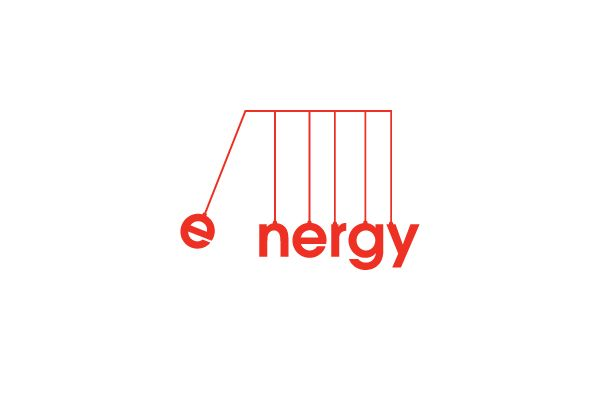 Energy logo - This makes me think of those desk toys that clack by transferring energy through the balls - you could also see them as hanging light bulbs