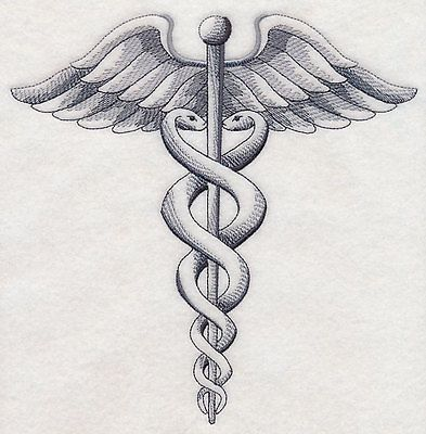 CADUCEUS OF EMBROIDERED SET OF 2 BATHROOM TOWELS BY LAURA
