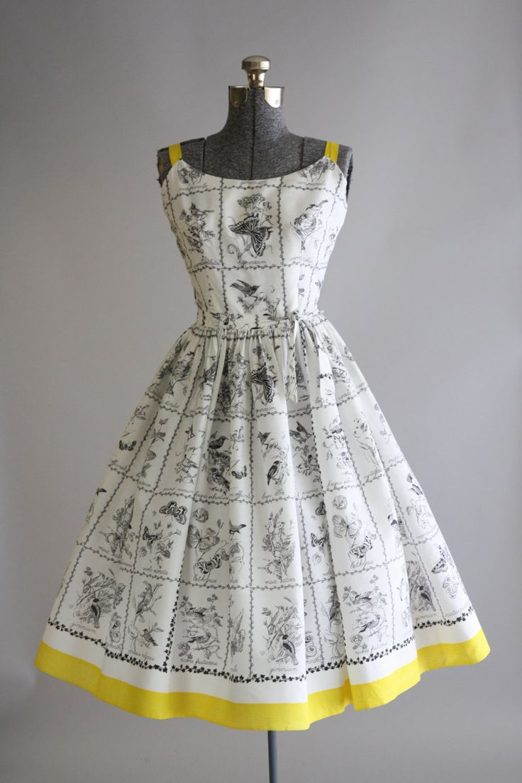 Vintage 1950s Dress / 50s Cotton Dress / Jerry Gilden White and Black Nature…