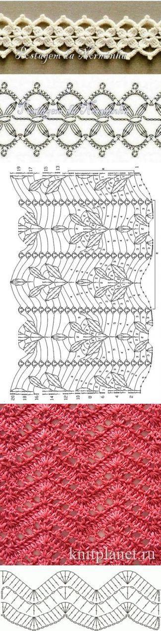 Схемы вязания крючком подборка. | Вязание - кайма,отделка | Постила