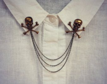 pernos de collar de calavera en latón antiguo, collar cadena broche collar, pin de solapa, pin de cráneo, broche de la calavera