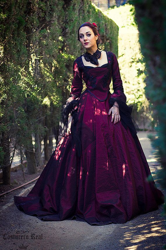 barroque gothic dress gown in dark red marie by CostureroReal