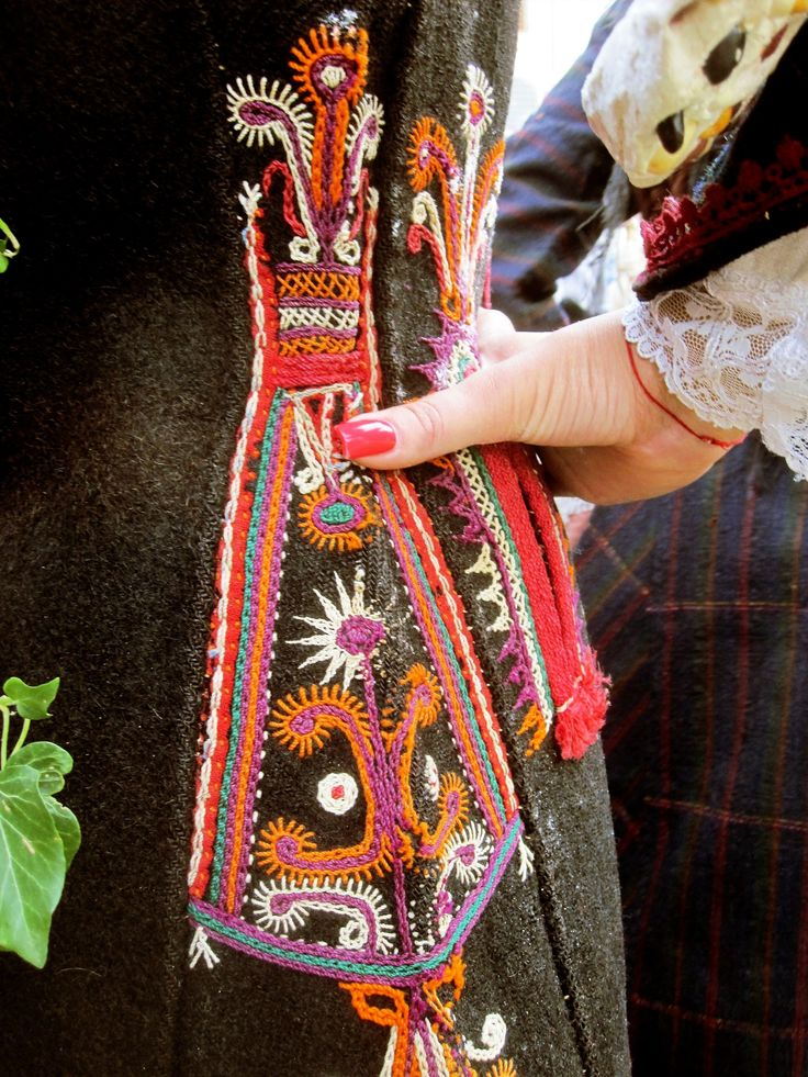 Traditional embroidery on a woman's coat.  From Lebnica (southwestern Bulgaria).