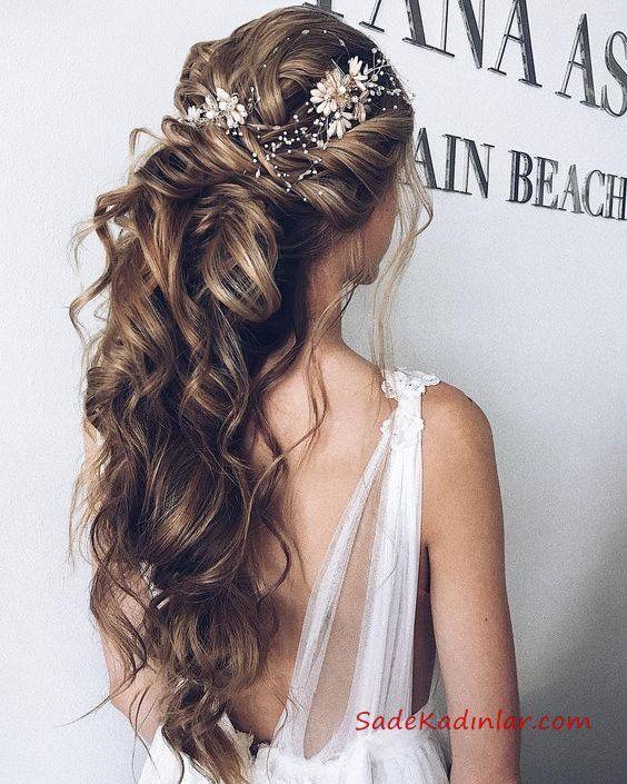 35 Gorgeous Wedding Hairstyles Which Are Half Up: 2019 Abiye Saç Modelleri (13), 2019