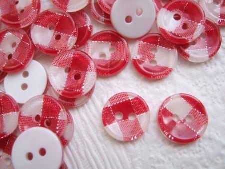 Ruitjes knopen met grote ruit - 13 mm - Rood/wit/zilver