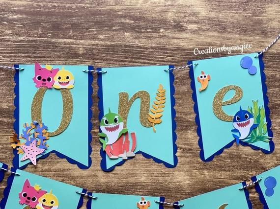 Boy Baby Shark Banner Shark Theme Birthday Shark Themed