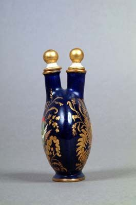 *Coalport Porcelain Perfume Flask c.1875 with two compartments and decorated with gold