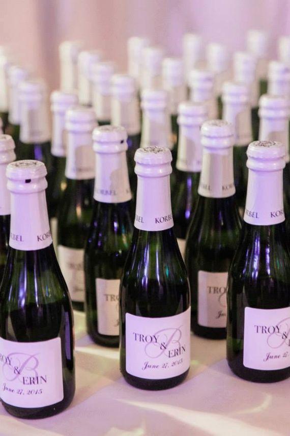 unique wedding favor ideas - custom mini champagne bottles wedding favors