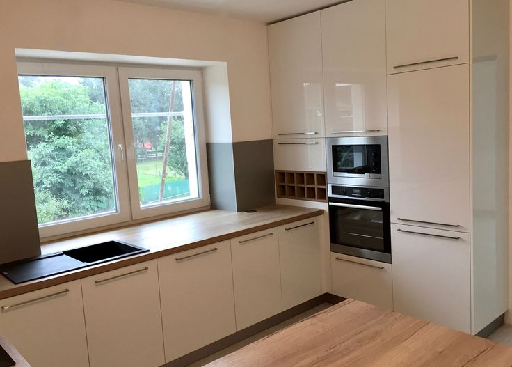 Moderní kuchyň  Dub halifax H1180 + bílý lesk