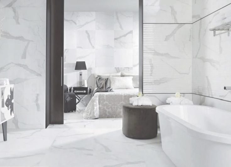 use this marble effect porcelain tile on walls and floors to create a bathroom