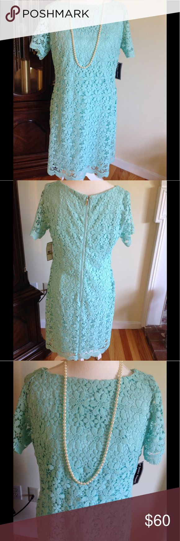 NWT Jessica Howard Mint Green Lace Dress Sz 14 New Beautiful short sleeve sheath dress with all over floral Lace w/ scalloped hem & sleeves. Nice quality. I am 5'1 falls longer on me than model picture. Jessica Howard Dresses