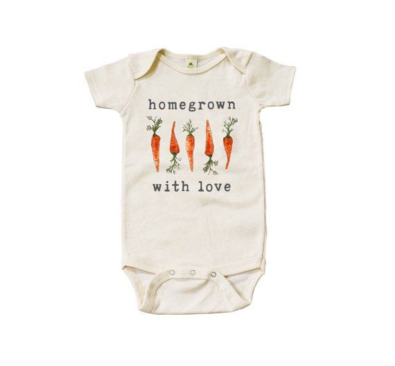 "Organic ""Homegrown with Love"" Carrot Edition Unbleached Snappie / Bodysuit – For the Baby Boy"