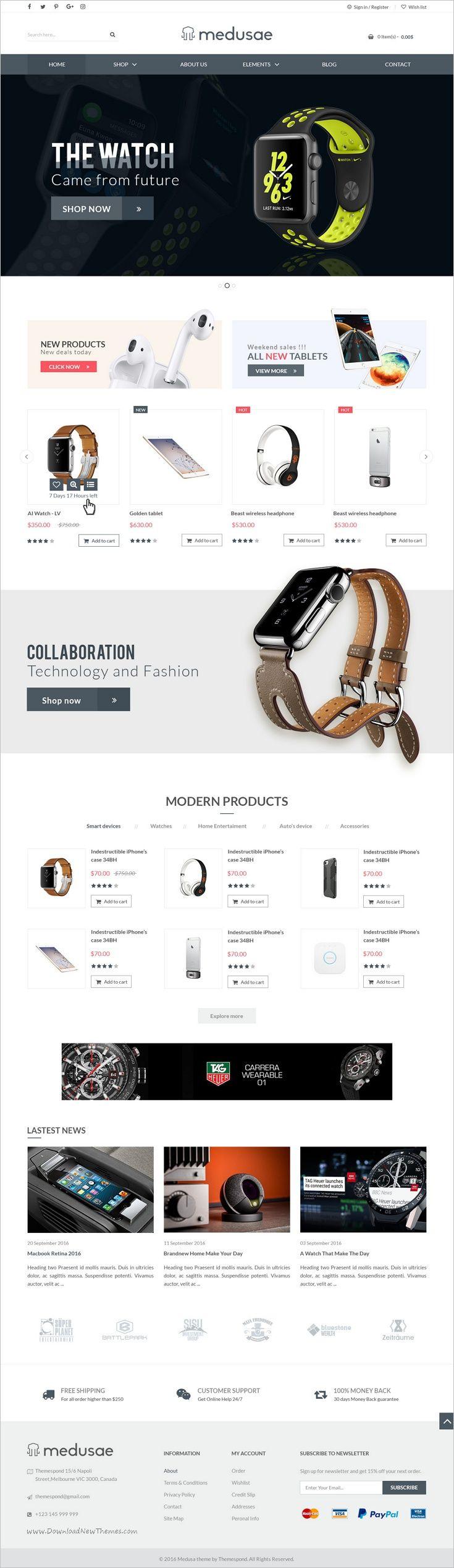 Medusae is an inspiration #Photoshop template for 3in1 #tech #store eCommerce website download now➩ https://themeforest.net/item/medusae-ecommerce-multipurpose-psd-template/17511379?ref=Datasata