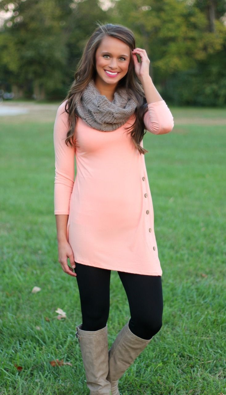 The Pink Lily Boutique - Peach Side Button Tunic, $32.50 (http://www.thepinklilyboutique.com/peach-side-button-tunic/)