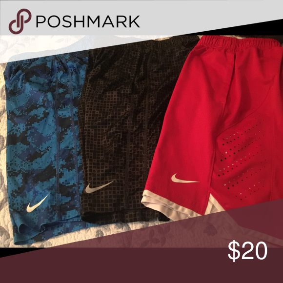 3 Pairs of Nike Basketball shorts Nike Basketball shorts in very good condition, like for 7/8/9 year olds Nike Shorts