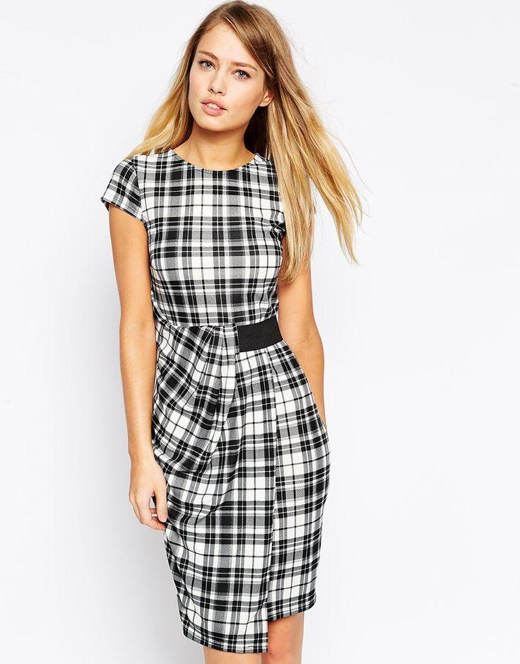 ASOS Pencil Dress in Check Print with Elastic Belt