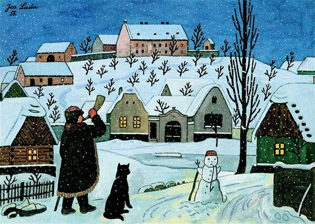 Josef Lada - Ponocný a sněhulák, 1955 - winter session