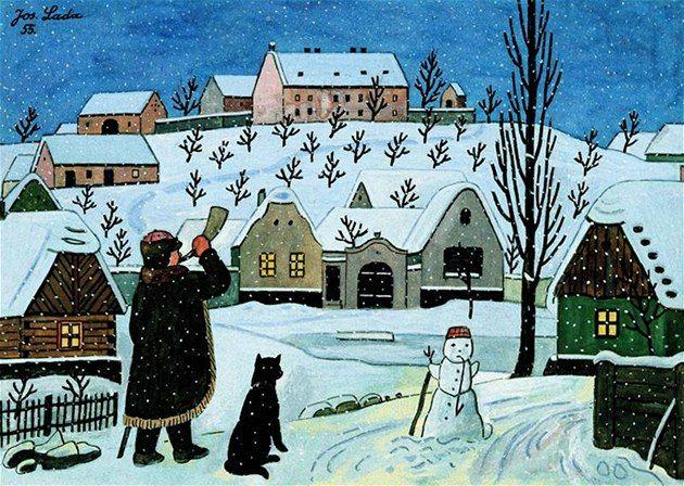 Josef Lada - Ponocný a sněhulák, 1955, soukromá sbírka