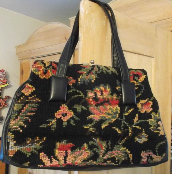 Vintage Carpet Bag Handbag Large Black By