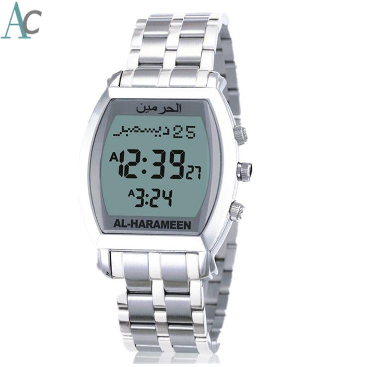 48.99$  Watch more here  - Azan Watch AL-HARAMEEN Original Watch Islamic Qibla Watches Waterproof Azan times for most cities around world Muslim Clock