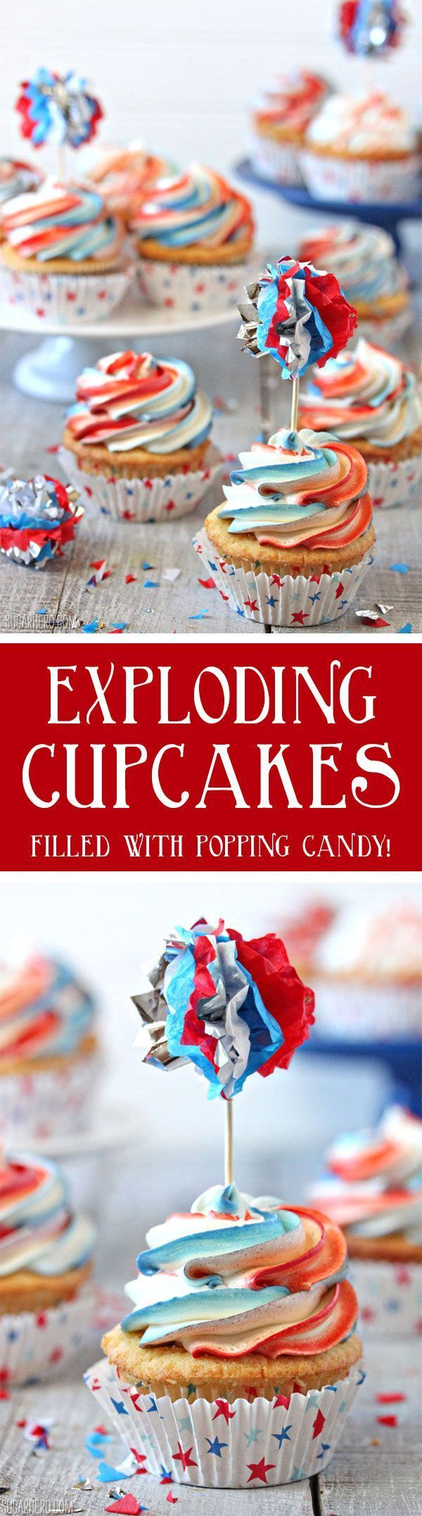 Exploding Cupcakes - filled with popping candy for an explosive July 4th treat! | From http://SugarHero.com #SugarHero #fourthofjuly #cupcakes