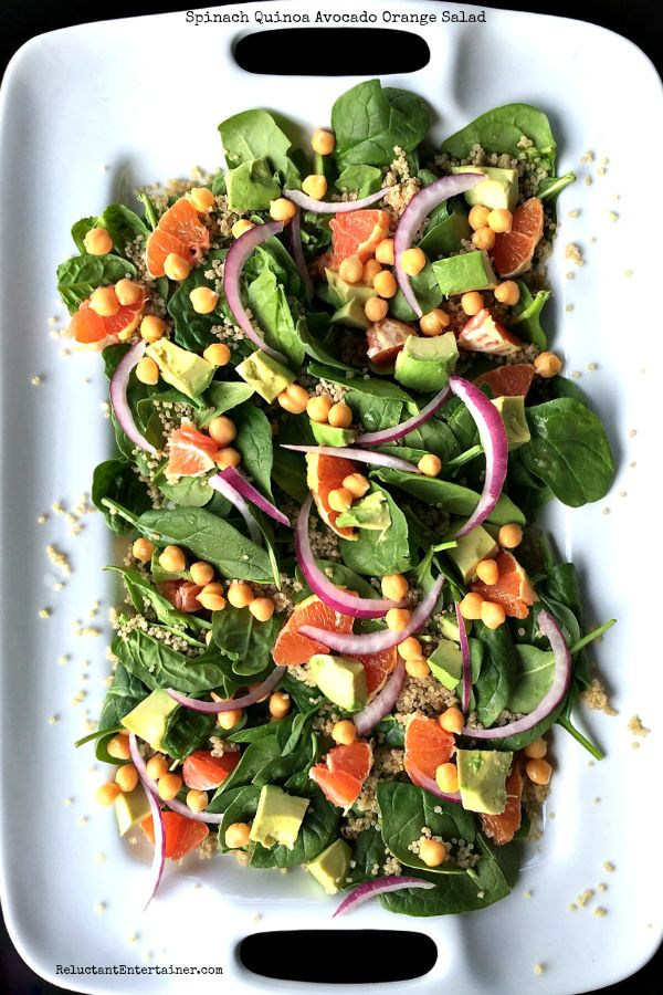 My favorite way to dress a salad? It's simple--olive oil and rice vinegar. It's particularly delicious on this Spinach Quinoa Avocado Orange Salad recipe!