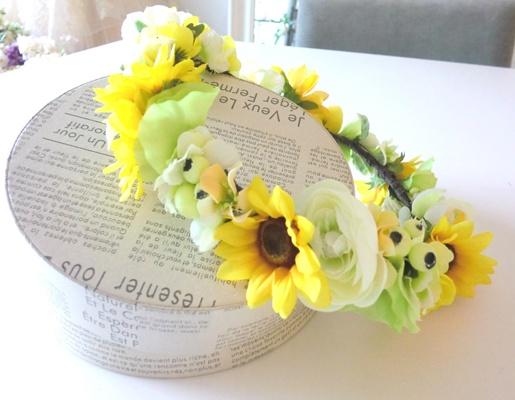 アーティシャルフラワー夏の花嫁さまを輝かせる ビタミンカラーヒマワリの花冠