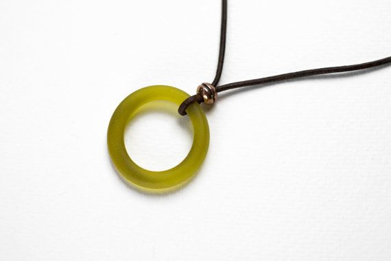 Wine Bottle Necklace Beach Glass Yellow Fused by DessinCreations