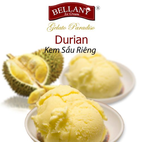 A thick texture of fresh durian blended with Elle & Vire cream has been made a perfect Bellany Durian ice cream. It's not too sweet with a subtle durian fragranc adapted to Vietnamese tastes. This flavor is one of our best selling one! Rich in vitamins and minerals. #kemsaurieng  #bellanyicecream, #durianicecream,