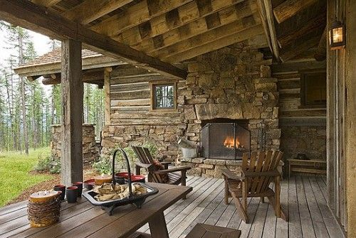 .Outdoor fireplace is a must!
