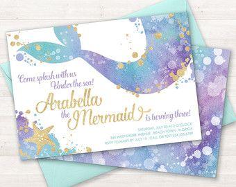 Mermaid invitaciones  invitación del cumpleaños de la sirena