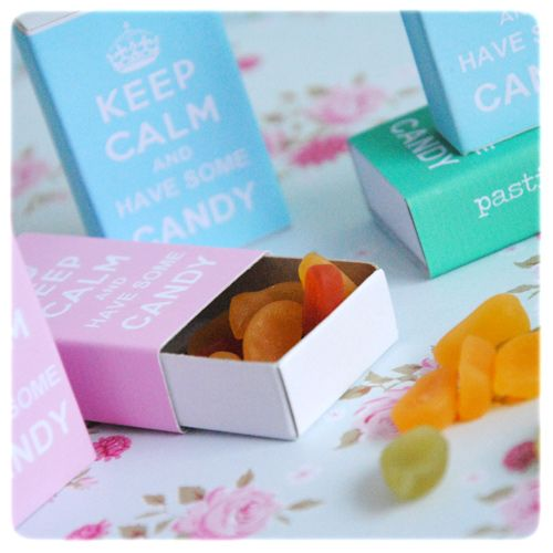 "Keep calm and have some candy free printable match box covers in pink, turquoise and green from Pastill.nu. For download click on the word ""här"" in the first line underneath last picture."