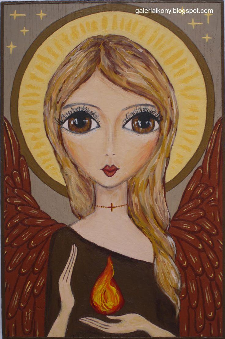 Angel bringing good energy and light. Acrylic on wooden board. Żukowska.