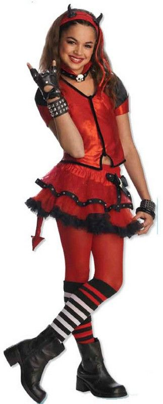 Description #884745 The devil made me do it in this cute and sassy costume. Includes: Top, Skirt w/attached tail, Headpiece and Horns. Sizes: M(8-10), L(12-14)