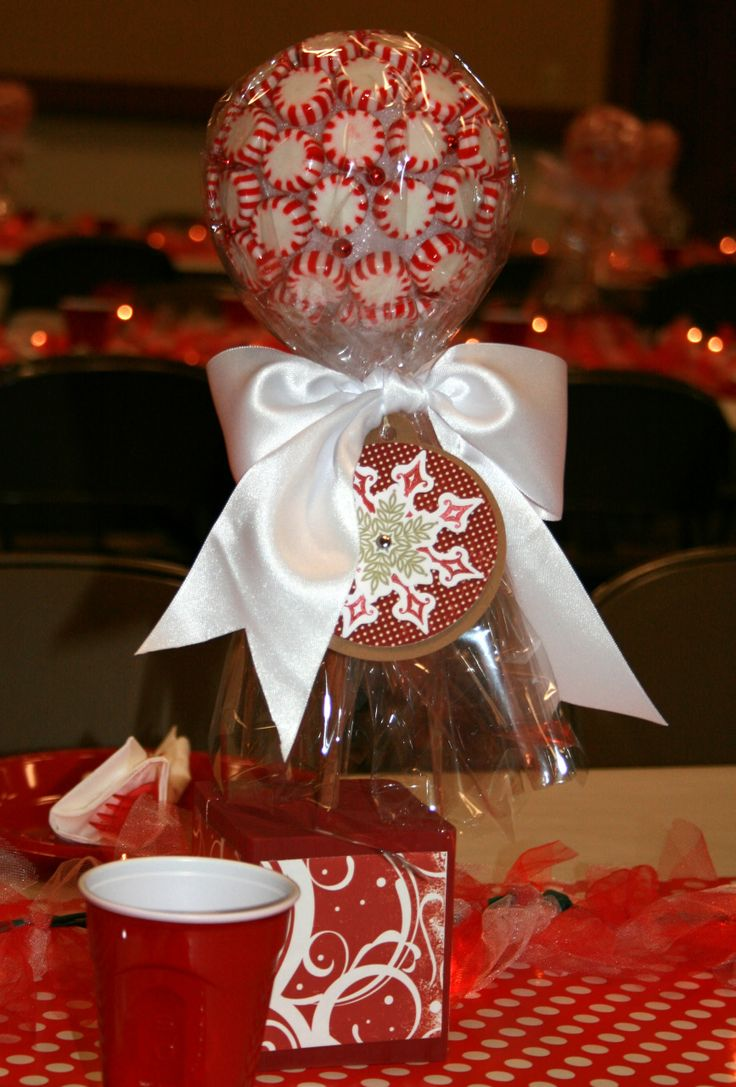 Red Classic Christmas Party Centerpiece With Red Candies Wrapped In Plastic  Wrap And Red Plus White
