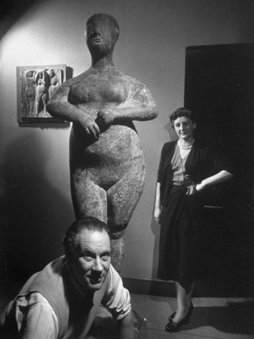 Sculptor Marino Marini (1901-1980) with his wife via All Posters.